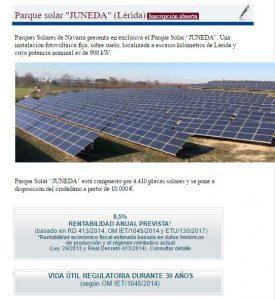 Parques Solares de Navarra responde a Nadal