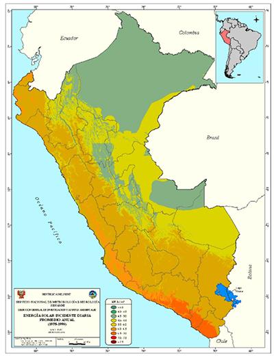 Mapa de energía solar incidente diaria promedio anual en el Perú.