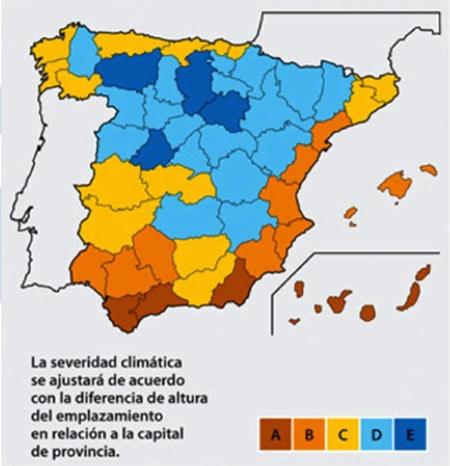Mapa de zonas climáticas. ISTA.