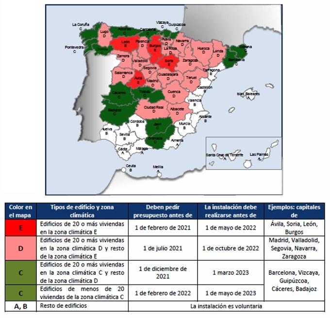 Mapa y plazos de instalación, basado en capitales de provincia.