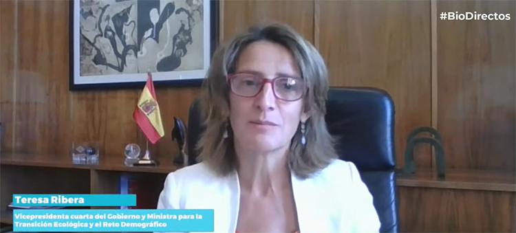 La ministra y vicepresidenta, Teresa Ribera, durante su intervención.